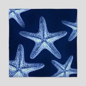 beach blue starfish Queen Duvet