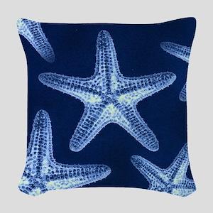 beach blue starfish Woven Throw Pillow