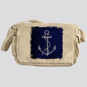 nautical navy blue anchor Messenger Bag