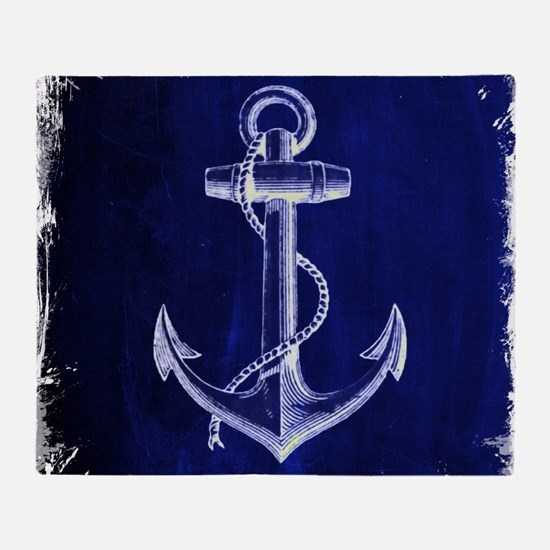 nautical navy blue anchor Throw Blanket