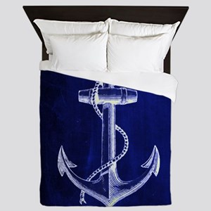 nautical navy blue anchor Queen Duvet