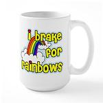 I Brake For Rainbows Large Mug