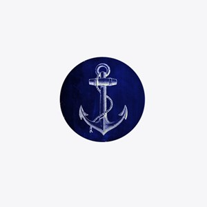nautical navy blue anchor Mini Button