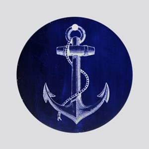 nautical navy blue anchor Round Ornament