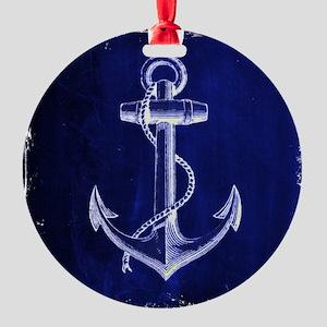 nautical navy blue anchor Round Ornament