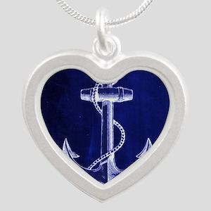 nautical navy blue anchor Silver Heart Necklace