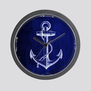 nautical navy blue anchor Wall Clock
