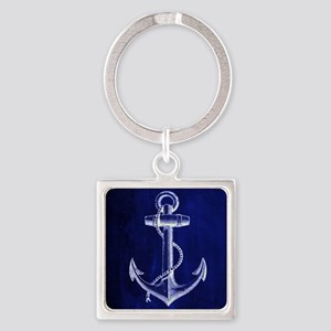 nautical navy blue anchor Square Keychain