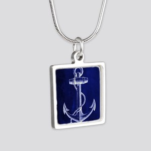 nautical navy blue anchor Silver Square Necklace