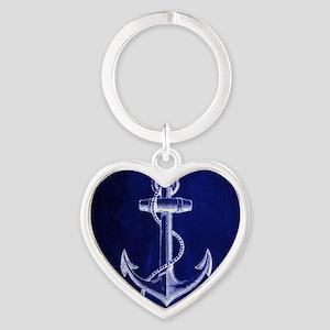 nautical navy blue anchor Heart Keychain