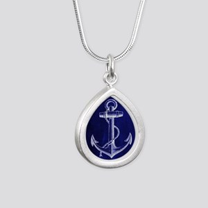 nautical navy blue ancho Silver Teardrop Necklace
