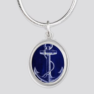 nautical navy blue anchor Silver Oval Necklace
