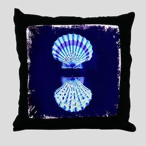 beach blue sea shells Throw Pillow