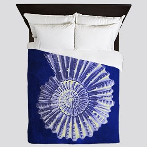 beach blue sea shells Queen Duvet