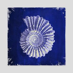 beach blue sea shells Queen Duvet