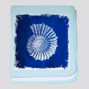 beach blue sea shells baby blanket
