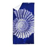 Blue seashell Beach Towels