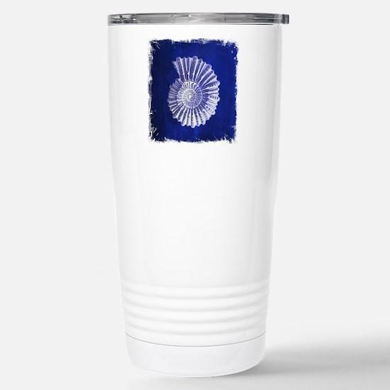 beach blue sea shells Stainless Steel Travel Mug