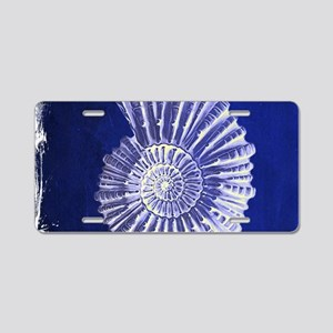 beach blue sea shells Aluminum License Plate