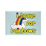 I Brake For Rainbows Rectangle Magnet (100 pack)