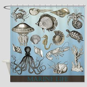 Marine Animal Life Shower Curtain