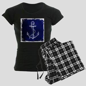 nautical navy blue anchor Women's Dark Pajamas