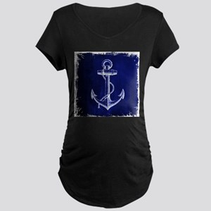 nautical navy blue anchor Maternity T-Shirt