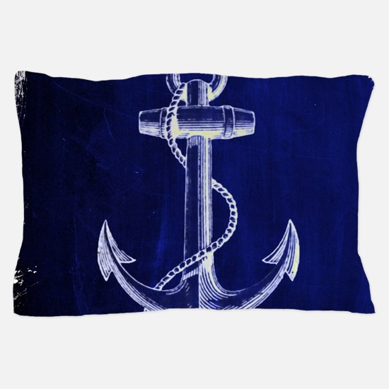 nautical navy blue anchor Pillow Case