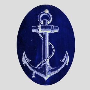 nautical navy blue anchor Ornament (Oval)