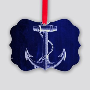 nautical navy blue anchor Picture Ornament
