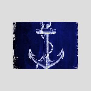 nautical navy blue anchor 5'x7'Area Rug