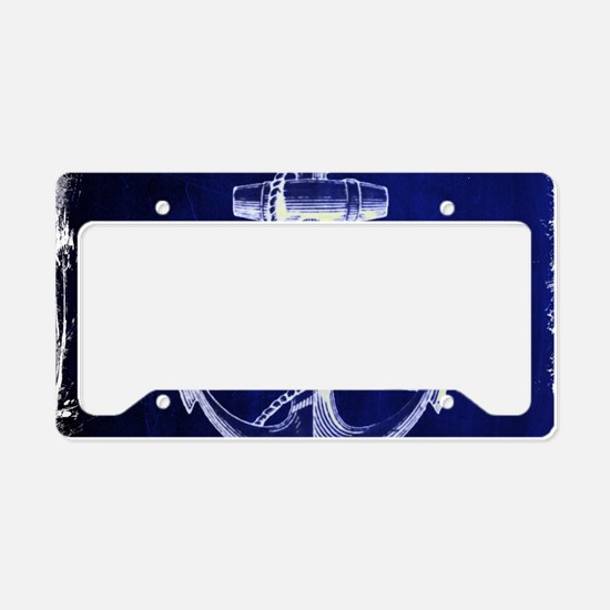 nautical navy blue anchor License Plate Holder