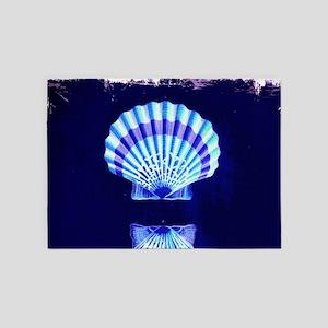 beach blue sea shells 5'x7'Area Rug