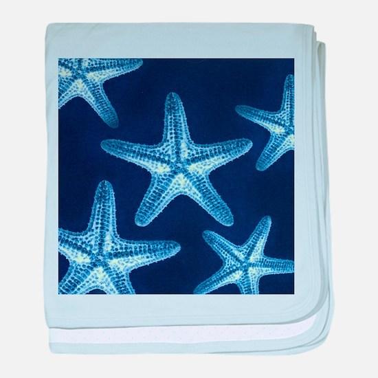 beach blue starfish baby blanket