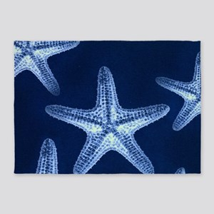 beach blue starfish 5'x7'Area Rug