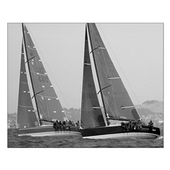 black + white borderless small sailing poster