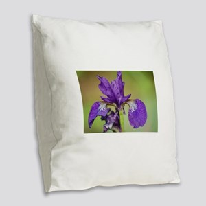 iris outdoors Burlap Throw Pillow
