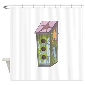 Birds And Birdhouse Shower Curtains