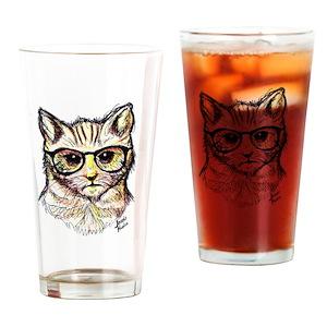 dd964254145ef Hipster Cat Drinking Glasses - CafePress