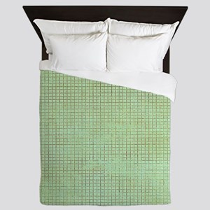 Faded Green Tweed Queen Duvet