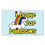 I Brake For Rainbows Rectangle Sticker