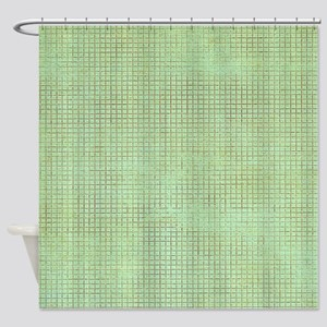Faded Green Tweed Shower Curtain