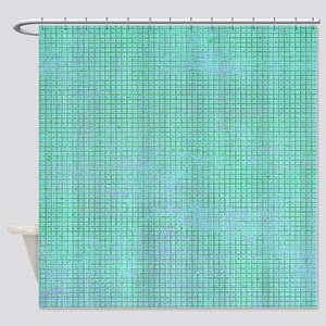 Faded Blue Tweed Shower Curtain