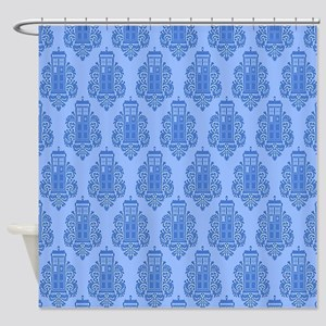 Blue Tardis Shower Curtain