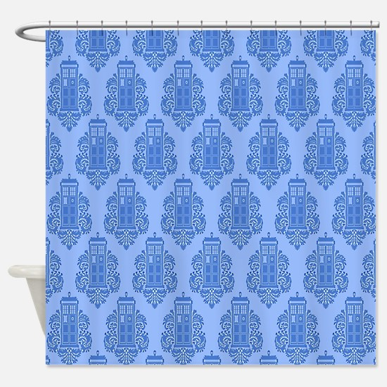 Blue Tardis Shower Curtain