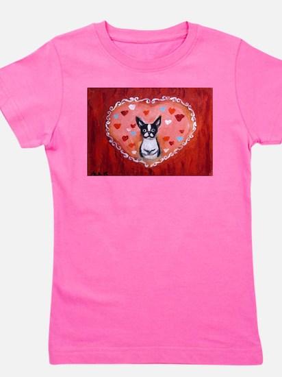 Boston Terrier Valentine Girl's Tee
