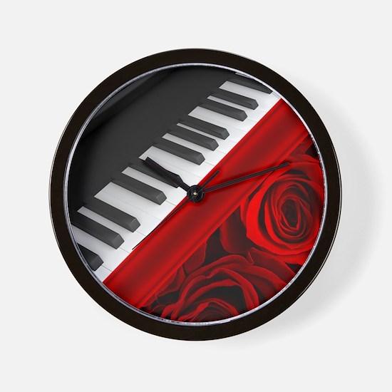Piano and Roses Wall Clock