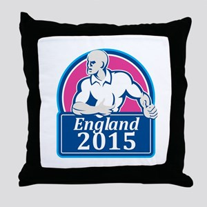 Rugby Player Running Ball England 2015 Retro Throw