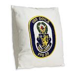 USS DOYLE Burlap Throw Pillow