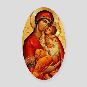 Mary The God Bearer Oval Car Magnet